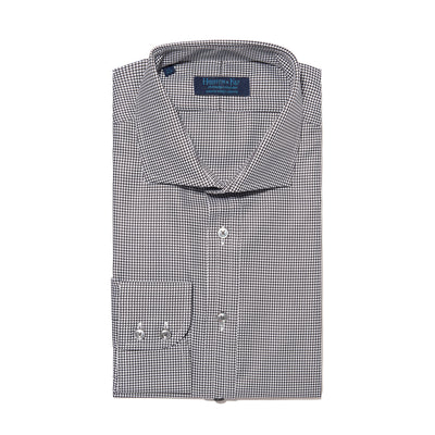Contemporary Fit, Cutaway Collar, 2 Button Cuff Shirt in a Plain Black & White Houndstooth Cotton