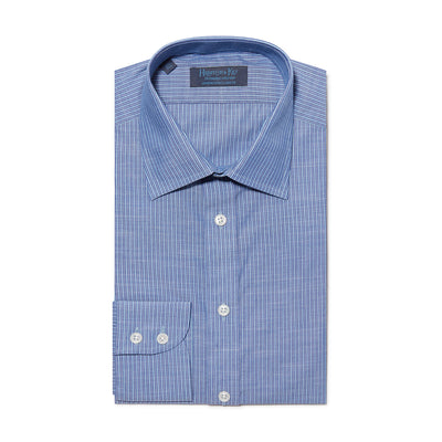 Contemporary Fit, Classic Collar, 2 Button Cuff Shirt in a Navy & Blue Stripe Twill Cotton