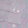 Contemporary Fit, Classic Collar, 2 Button Cuff Shirt in a Wine, Blue & White Stripe Poplin Cotton