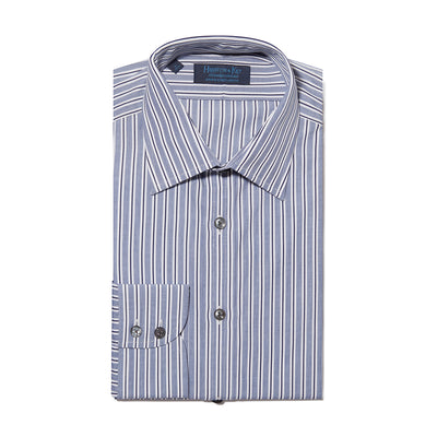 Contemporary Fit, Classic Collar, 2 Button Cuff Shirt in a Navy & White Stripe Poplin Cotton