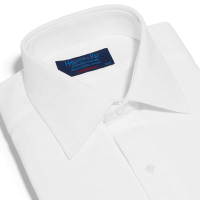 Contemporary Fit, White Poplin Cotton Shirt with a Marcella Front, Classic Collar & Double Cuffs