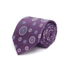 Purple Woven Silk Tie with White & Blue Circles
