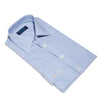 Contemporary Fit, Classic Collar, 2 Button Cuff Shirt in a Blue, Navy & White Small Check Twill Cotton