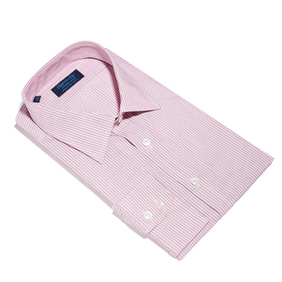 Contemporary Fit, Classic Collar, 2 Button Cuff Shirt in a Wine & White Fine Stripe Poplin Cotton