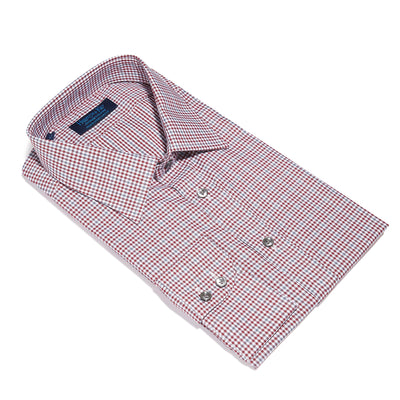 Contemporary Fit, Classic Collar, 2 Button Cuff Shirt in a Wine, Grey & White Check Twill Cotton