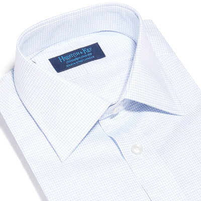 Contemporary Fit, Classic Collar, 2 Button Cuff Shirt in a Blue & White Fine Check Sea Island Quality Poplin Cotton