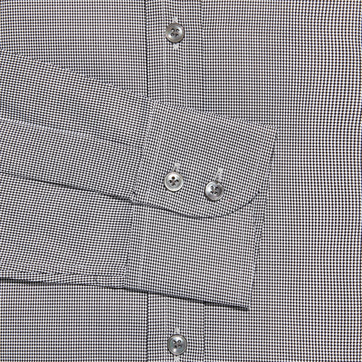 Contemporary Fit, Classic Collar, 2 Button Cuff Shirt in a Plain Black & White Houndstooth Cotton