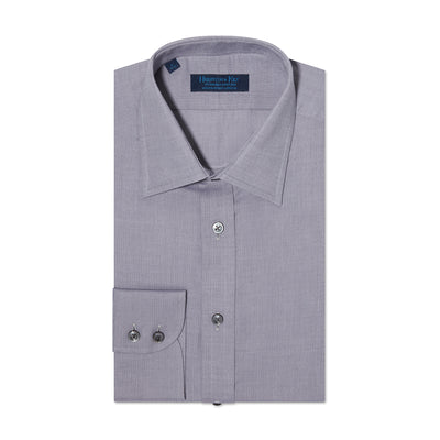 Contemporary Fit, Classic Collar, 2 Button Cuff Shirt in a Plain Grey Herringbone Cotton