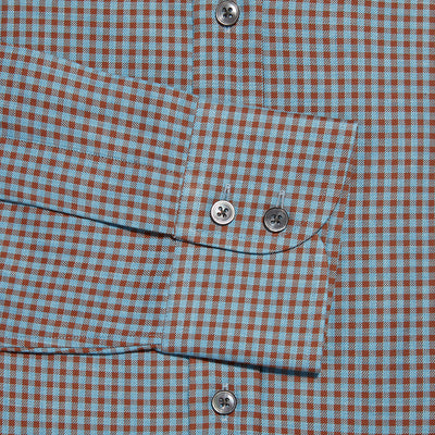 Contemporary Fit, Classic Collar, 2 Button Cuff Shirt in a Brown & Blue Check Twill Cotton