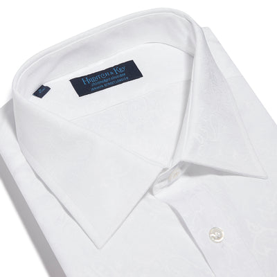 Contemporary Fit, Classic Collar, Double Cuff Shirt in a White & White Jacquard Twill Cotton