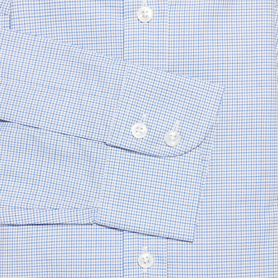 Contemporary Fit, Cut-away Collar, 2 Button Cuff Shirt in a Blue, Navy & White Small Check Twill Cotton