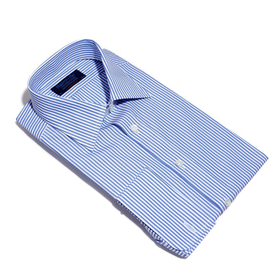 Contemporary Fit, Classic Collar, Double Cuff Shirt in a Blue & White Medium Bengal Poplin Cotton