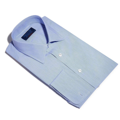 Contemporary Fit, Classic Collar, Double Cuff Shirt in a Plain Blue End-On-End Cotton