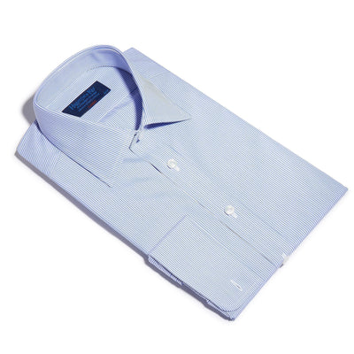 Classic Fit, Classic Collar, Double Cuff Shirt in a Blue & White Fine Bengal Poplin Cotton