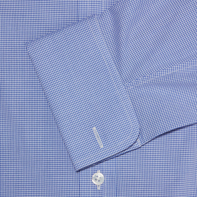 Classic Fit, Cutaway Collar, Double Cuff Shirt in a Blue & White Shepherds Check Poplin Cotton