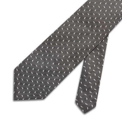Grey & White Small Paisley Printed Silk Tie