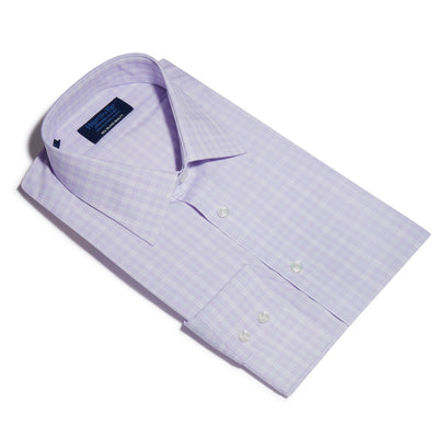 Contemporary Fit, Classic Collar, 2 Button Cuff Shirt in a Lilac, Navy & White Check Sea Island Quality Poplin Cotton