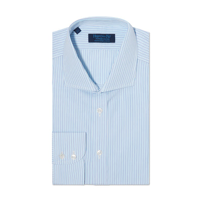 Contemporary Fit, Cut-away Collar, 2 Button Cuff Shirt in a Turquoise, Navy & White Stripe Poplin Cotton