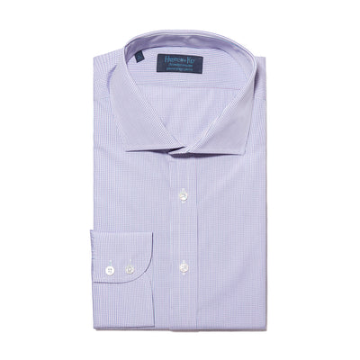 Contemporary Fit, Cut-away Collar, 2 Button Cuff Shirt in a Lilac, Navy & White Check Poplin Cotton