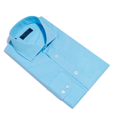 Contemporary Fit, Cut-away Collar, 2 Button Cuff Shirt in a Turquoise & White Check Poplin Cotton
