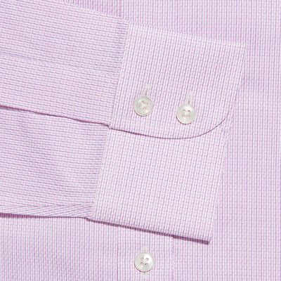 Contemporary Fit, Cut-away Collar, 2 Button Cuff Shirt in a Pink, Navy & White Textured Twill Cotton