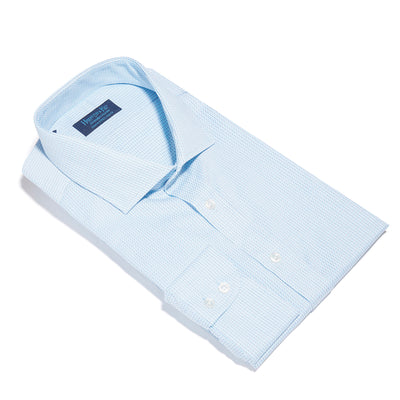 Contemporary Fit, Cut-away Collar, 2 Button Cuff Shirt in a Turquoise, Navy & White Textured Twill Cotton