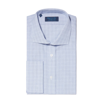 Contemporary Fit, Cut-away Collar, Double Cuff Shirt in a Navy & White Check Poplin Cotton