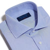 Classic Fit, Cut-away Collar, Double Cuff Shirt in a Plain Blue End-On-End Cotton