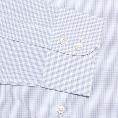 Contemporary Fit, Classic Collar, 2 Button Cuff Shirt in a Lilac, Navy & White Small Check Twill Cotton