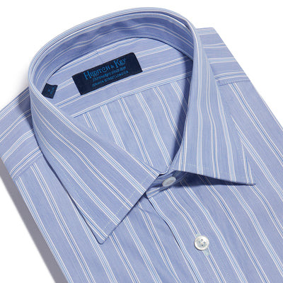 Contemporary Fit, Classic Collar, Double Cuff Shirt in a Blue, Navy & White Stripe Poplin Cotton