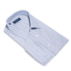 Contemporary Fit, Classic Collar, Double Cuff Shirt in Navy, Blue And White Stripe