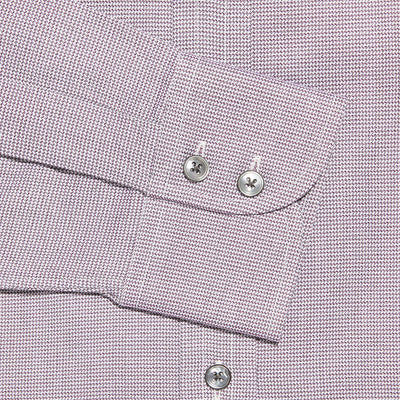 Contemporary Fit, Cut-away Collar, 2 Button Cuff Shirt in a Burgundy & White Checkerboard Twill Cotton