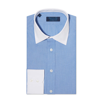 Contemporary Fit, White Classic Collar, White 2 Button Cuff Shirt in a Blue & White Even Stitch Poplin Cotton