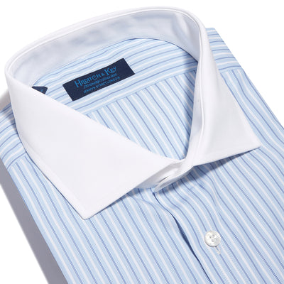 Contemporary Fit, White Cut-away Collar, White 2 Button Cuff Shirt in a Blue, White & Navy Verticle Stripe Thin/Large  Poplin Cotton