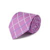 Purple Woven Silk Tie With White & Blue Grid Check