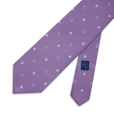 Purple with Sky Blue & Royal Blue Spots Printed Silk Tie