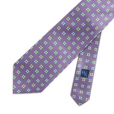 Lilac Printed Silk Tie With Blue, White & Green Diamonds