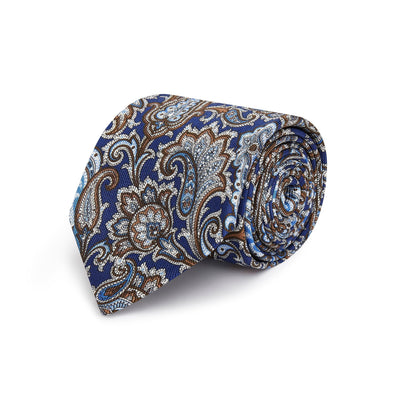 Blue with Sky Blue, Brown & White Paisley Printed Silk Tie