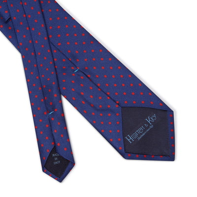 Navy Printed Silk Tie with Red Medium Spots