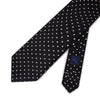 Black Printed Silk Tie with White Medium Spots