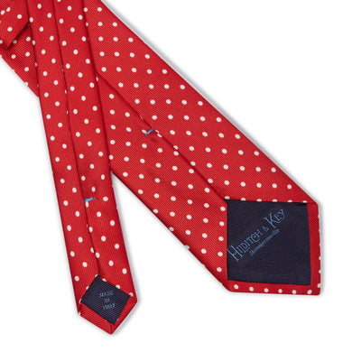 Red Printed Silk Tie with White Medium Spots