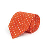 Orange Printed Silk Tie with White Medium Spots