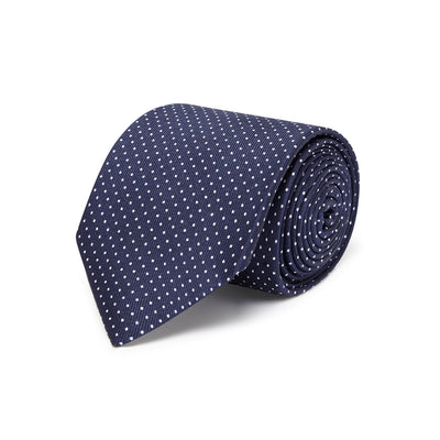 Dark Navy Printed Silk Tie with White Pin Spots