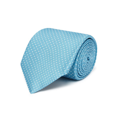 Turquoise Printed Silk Tie with White Pin Spots