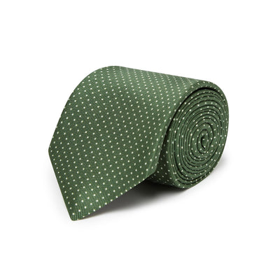 Green Printed Silk Tie with White Pin Spots