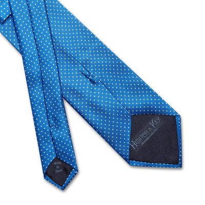 Royal Blue Printed Silk Tie with White Pin Spots