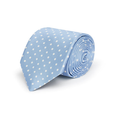 Sky Blue Printed Silk Tie with White Medium Spots