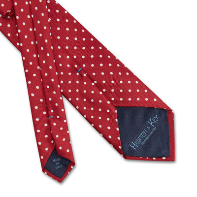 Deep Red Printed Silk Tie with White Medium Spots