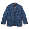 Navy With Blue Overcheck Cashmere Jacket