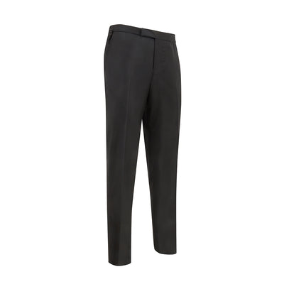 Plain Black Woollen Evening Trousers with Satin Stripe